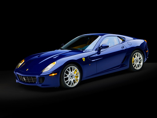 FRR 04 RK0484 01 © Kimball Stock 2007 Ferrari 599 GTB Fiorano Blue 3/4 Side View Studio