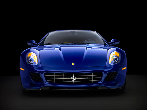 FRR 04 RK0485 01 © Kimball Stock 2007 Ferrari 599 GTB Fiorano Blue Head On View Studio