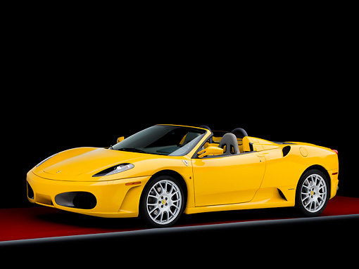 FRR 04 RK0500 01 © Kimball Stock 2006 Ferrari F430 Spider Yellow 3/4 Front View Studio