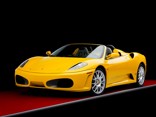 FRR 04 RK0502 01 © Kimball Stock 2006 Ferrari F430 Spider Yellow 3/4 Front View Studio
