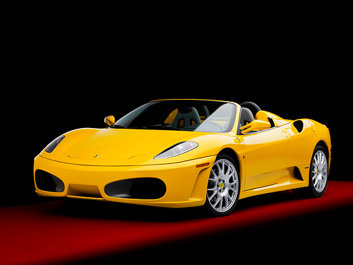 FRR 04 RK0502 02 © Kimball Stock 2006 Ferrari F430 Spider Yellow 3/4 Front View Studio