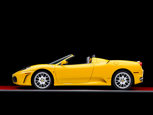 FRR 04 RK0504 01 © Kimball Stock 2006 Ferrari F430 Spider Yellow Profile View Studio