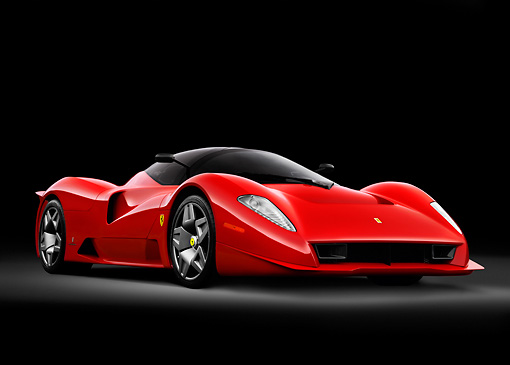 FRR 04 RK0505 01 © Kimball Stock Ferrari P4/5 By Pininfarina Red 3/4 Front View Studio
