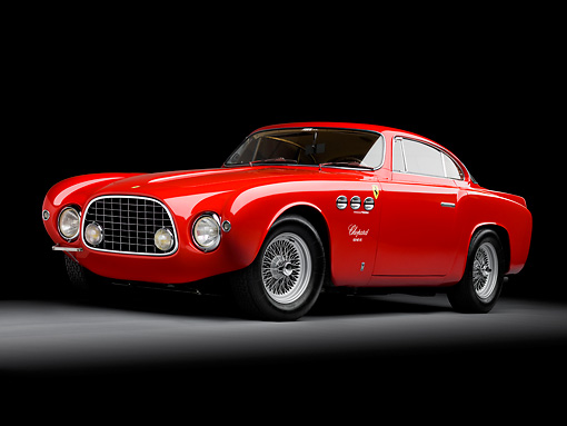 FRR 04 RK0508 01 © Kimball Stock 1952 Ferrari 212 Inter Vignale Red 3/4 Front View Studio