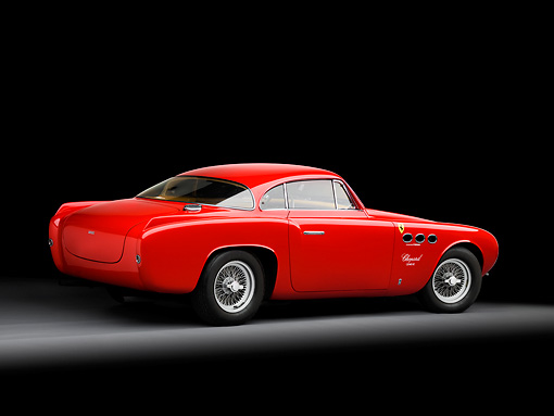 FRR 04 RK0509 01 © Kimball Stock 1952 Ferrari 212 Inter Vignale Red 3/4 Rear View Studio