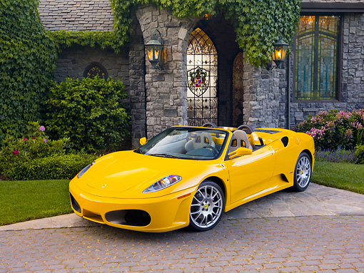 FRR 04 RK0551 01 © Kimball Stock 2006 Ferrari F430 Spider Yellow 3/4 Front View By Mansion