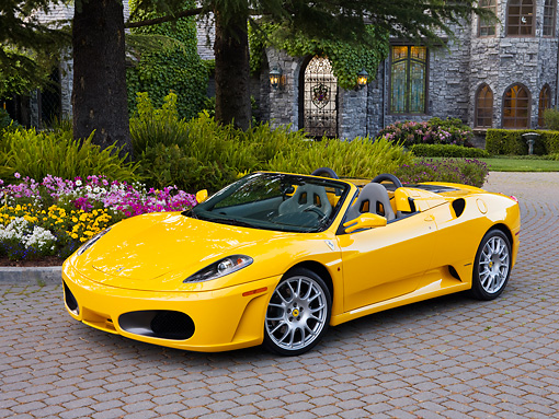 FRR 04 RK0553 01 © Kimball Stock 2006 Ferrari F430 Spider Yellow 3/4 Front View By Mansion