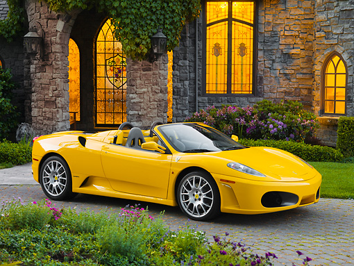 FRR 04 RK0557 01 © Kimball Stock 2006 Ferrari F430 Spider Yellow 3/4 Front View By Mansion