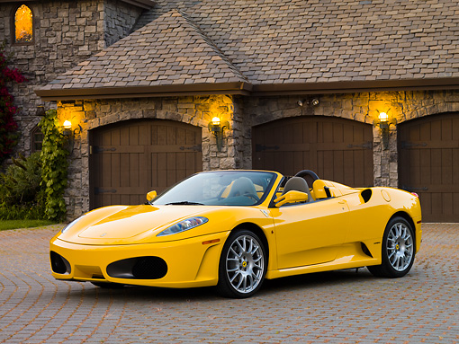 FRR 04 RK0558 01 © Kimball Stock 2006 Ferrari F430 Spider Yellow 3/4 Front View By Mansion