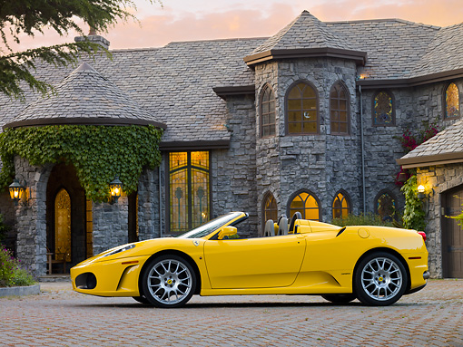 FRR 04 RK0560 01 © Kimball Stock 2006 Ferrari F430 Spider Yellow Profile View By Mansion