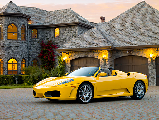 FRR 04 RK0563 01 © Kimball Stock 2006 Ferrari F430 Spider Yellow 3/4 Front View By Mansion