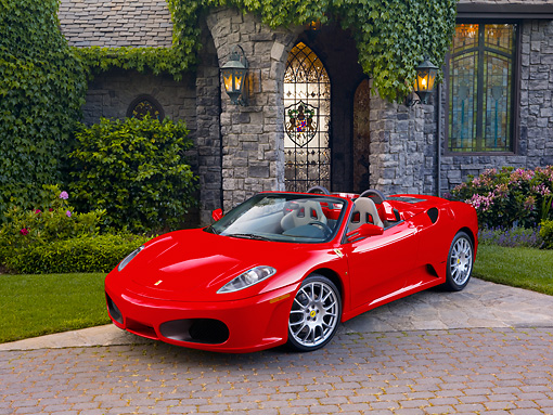 FRR 04 RK0568 01 © Kimball Stock 2006 Ferrari F430 Spider Red 3/4 Front View By Mansion