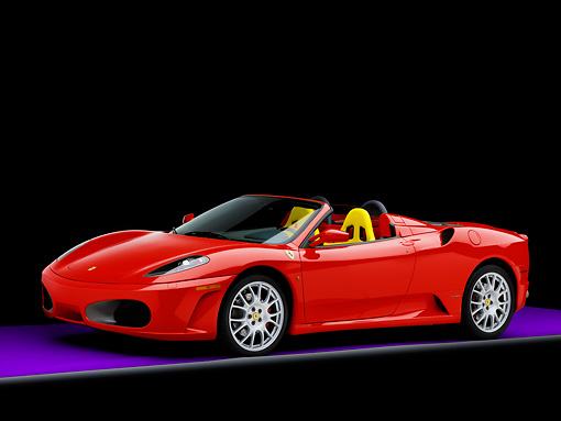 FRR 04 RK0569 01 © Kimball Stock 2006 Ferrari F430 Spider Red With Yellow Seats 3/4 Front View Studio