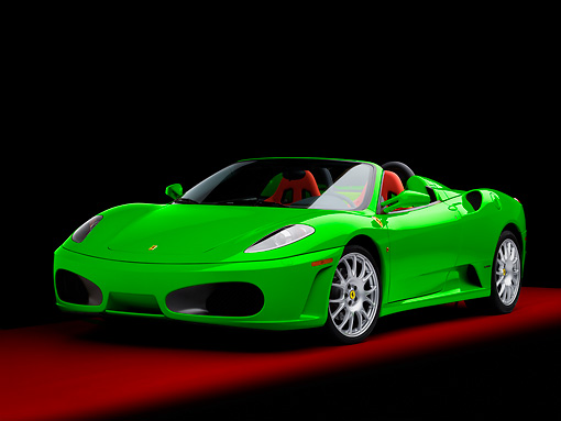 FRR 04 RK0570 01 © Kimball Stock 2006 Ferrari F430 Spider Green With Red Seats 3/4 Front View Studio