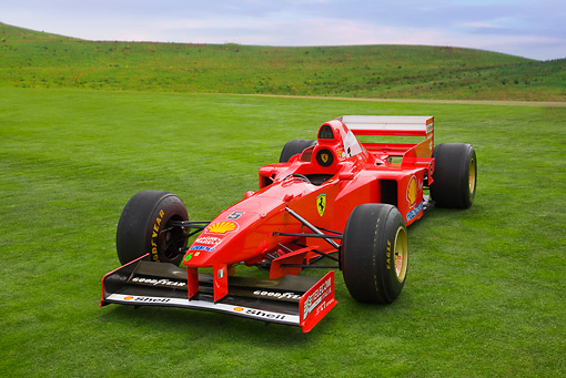 FRR 04 RK0587 01 © Kimball Stock 2006 Michael Schumacher Ferrari Formula One Red 3/4 Front View On Lawn