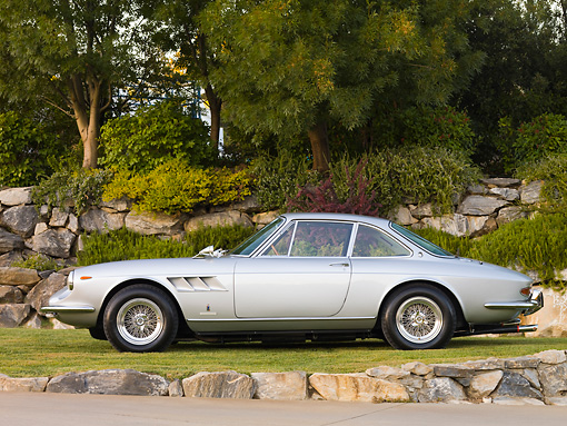 FRR 04 RK0590 01 © Kimball Stock 1967 Ferrari 330 GTC Silver Profile View On Grass By Trees