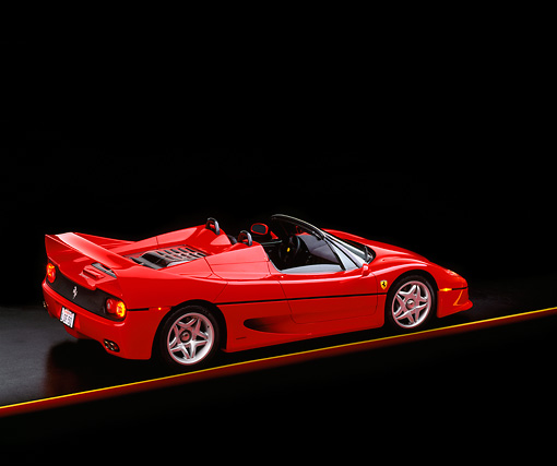 FRR 05 RK0008 02 © Kimball Stock 1996 Ferrari F-50 Red 3/4 Rear View On Yellow Line Studio