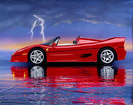 FRR 05 RK0015 06 © Kimball Stock 1996 Ferrari F-50 Red Profile On Mylar Floor Lightning  Studio