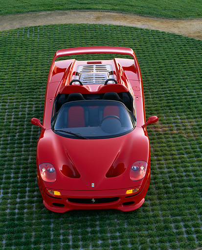 FRR 05 RK0036 05 © Kimball Stock 1996 Ferrari F-50 Red Overhead On Grass Head On View