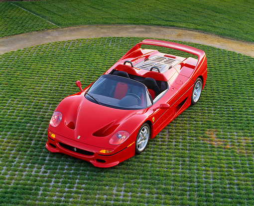 FRR 05 RK0037 05 © Kimball Stock 1996 Ferrari F-50 Red Overhead 3/4 Front View On Grass