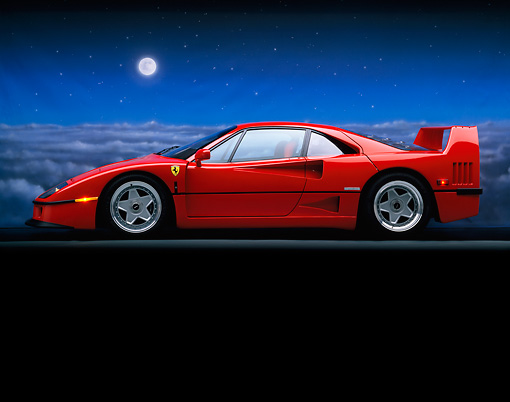 FRR 06 RK0010 02 © Kimball Stock 1990 Ferrari F-40 Red Profile On Gray Line Dark Sky With Moon Background
