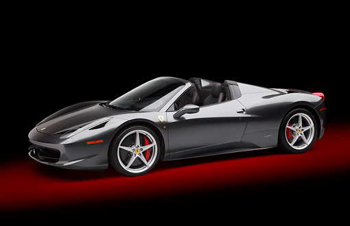 FRR 08 RK0146 01 © Kimball Stock 2012 Ferrari 458 Spider Gray 3/4 Side View In Studio