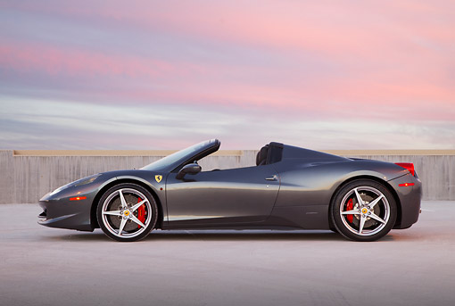 FRR 08 RK0149 01 © Kimball Stock 2012 Ferrari 458 Spider Gray Profile View On Pavement