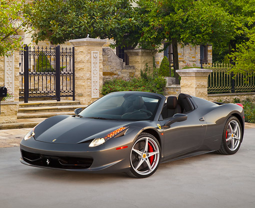 FRR 08 RK0152 01 © Kimball Stock 2012 Ferrari 458 Spider Gray 3/4 Front View On Pavement