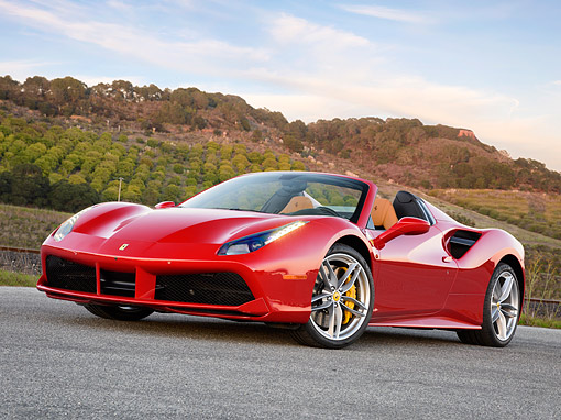 FRR 08 RK0164 01 © Kimball Stock 2016 Ferrari 488 Spyder Red Low 3/4 Front View By Vineyard At Sunset