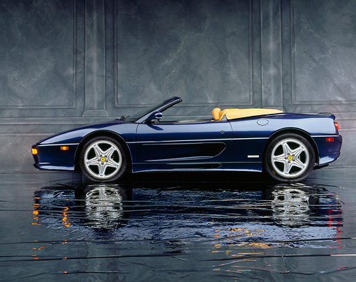 FRR 08 RK0086 08 © Kimball Stock 1995 Ferrari F355 Spyder Blue Profile View On