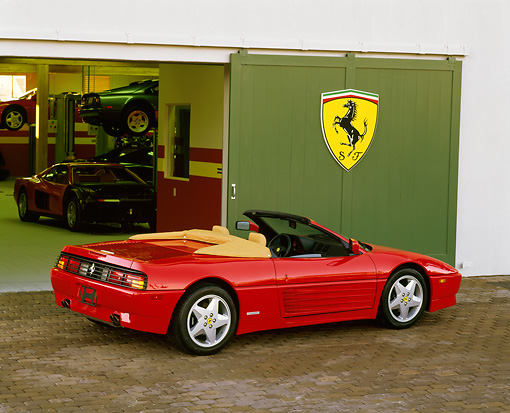 FRR 08 RK0094 04 © Kimball Stock 1994 Ferrari 348 Spyder Red Rear 3/4 View By Ferrari Garage
