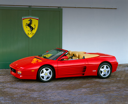 FRR 08 RK0100 04 © Kimball Stock 1994 Ferrari 348 Spyder Red Front 3/4 View On Ferrari Garage Door