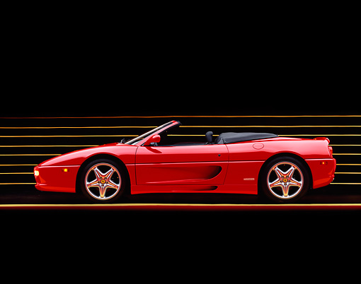 FRR 08 RK0102 04 © Kimball Stock 1995 Ferrari F355 Spyder Red Profile View On Yellow Lines Studio