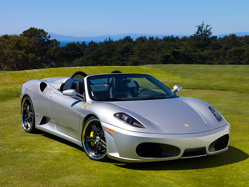FRR 08 RK0120 01 © Kimball Stock 2007 Ferrari F430 Spider Silver Front 3/4 View On Grass By Trees Sky