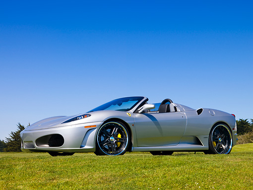 FRR 08 RK0122 02 © Kimball Stock 2007 Ferrari F430 Spider Silver Front 3/4 View On Grass By Trees Sky