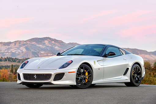 FRR 09 RK0085 01 © Kimball Stock 2011 Ferrari 599 GTO White 3/4 Front View By Mountains