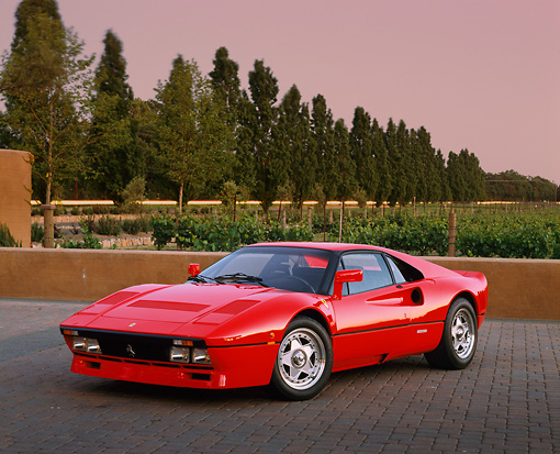 FRR 09 RK0041 02 © Kimball Stock 1985 Ferrari 288 GTO Red 3/4 Front View By Vineyard And Trees Filtered