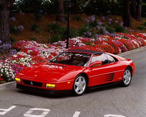 FRR 11 RK0002 01 © Kimball Stock 1990 Ferrari 348 TS Red 3/4 Front View On Pavement By Flowers