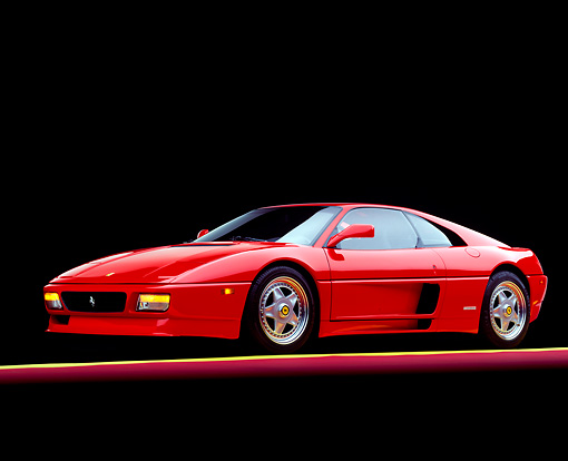 FRR 11 RK0021 04 © Kimball Stock 1992 Ferrari 348 TB Speciale Red 3/4 Side View On Red And Yellow Lines Studio