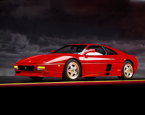 FRR 11 RK0021 07 © Kimball Stock 1992 Ferrari 348 TB Speciale Red 3/4 Side View On Red And Yellow Lines Studio