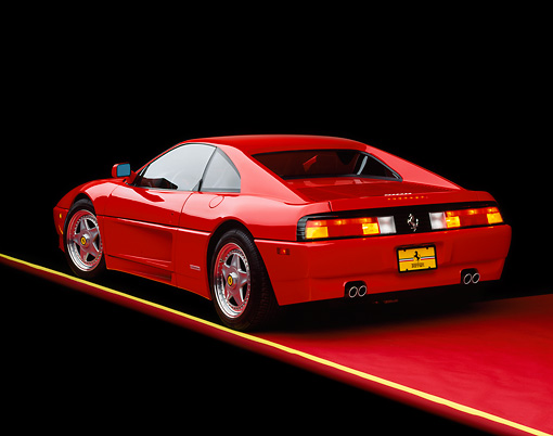 FRR 11 RK0023 05 © Kimball Stock 1992 Ferrari 348 TB Speciale Red 3/4 Rear View On Red Floor Yellow Line Studio