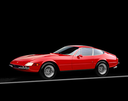 FRR 12 RK0004 03 © Kimball Stock 1970 Ferrari Daytona Coupe Red 3/4 Side View On Red And Yellow Lines Studio