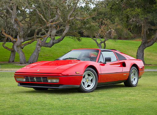 FRR 14 RK0033 01 © Kimball Stock 1987 Ferrari 328 GTS Red 3/4 Front View On Grass By Trees