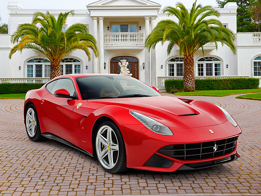 FRR 15 RK0045 01 © Kimball Stock 2012 Ferrari F12 Berlinetta Red 3/4 Front View On Brick By Mansion