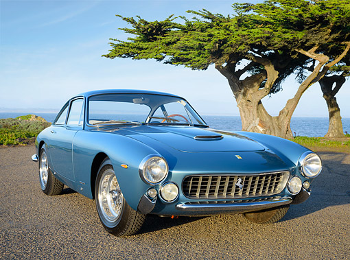 FRR 15 RK0047 01 © Kimball Stock 1963 Ferrari 250 GT Berlinetta Lusso Blue 3/4 Front View On Pavement By Water