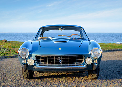 FRR 15 RK0048 01 © Kimball Stock 1963 Ferrari 250 GT Berlinetta Lusso Blue Front View On Pavement By Water