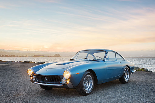 FRR 15 RK0052 01 © Kimball Stock 1963 Ferrari 250 GT Berlinetta Lusso Blue 3/4 Front View On Pavement By Water