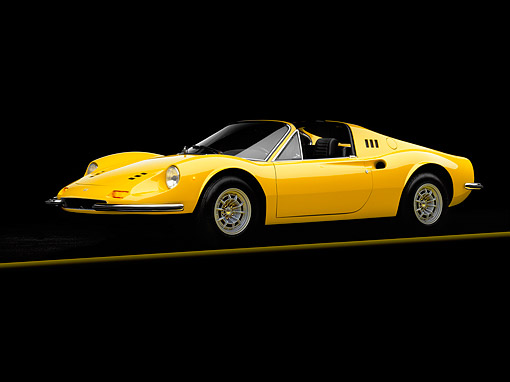 FRR 16 RK0003 03 © Kimball Stock 1973 Ferrari 246 GTS Dino Yellow 3/4 Side View On Gray Line Studio