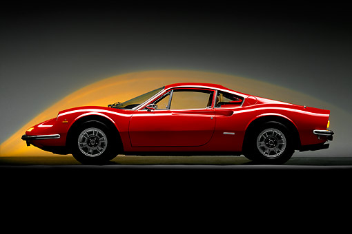FRR 16 RK0007 05 © Kimball Stock 1973 Ferrari Dino GT Red Profile Lighting Background Studio