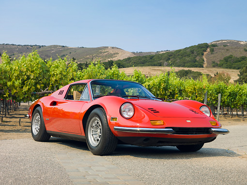 FRR 16 RK0017 01 © Kimball Stock 1973 Ferrari Dino 246 GTS Spyder Red 3/4 Front View On Pavement By Vineyard